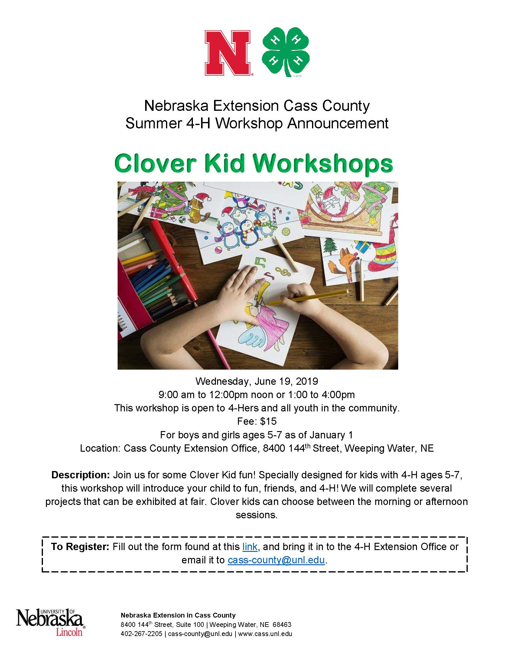 2019 Clover Kid Workshops