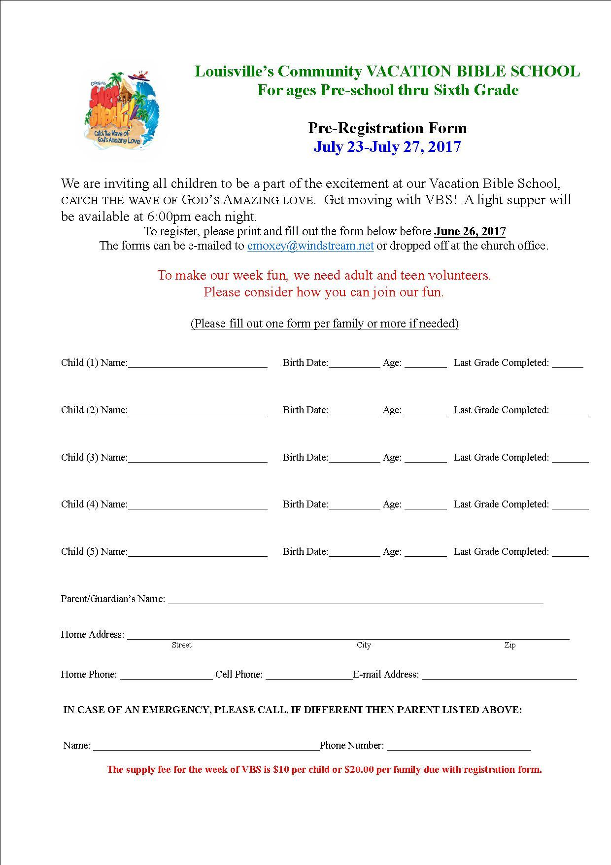 VBS Registration form 2017