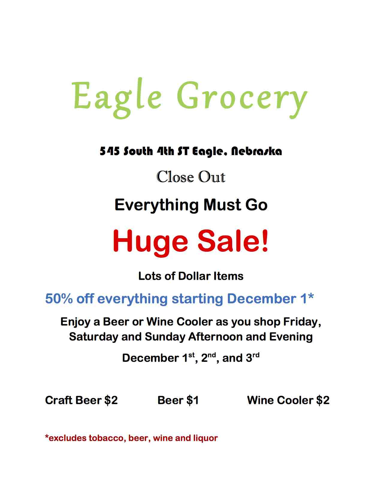eagle grocery ad for newsletter