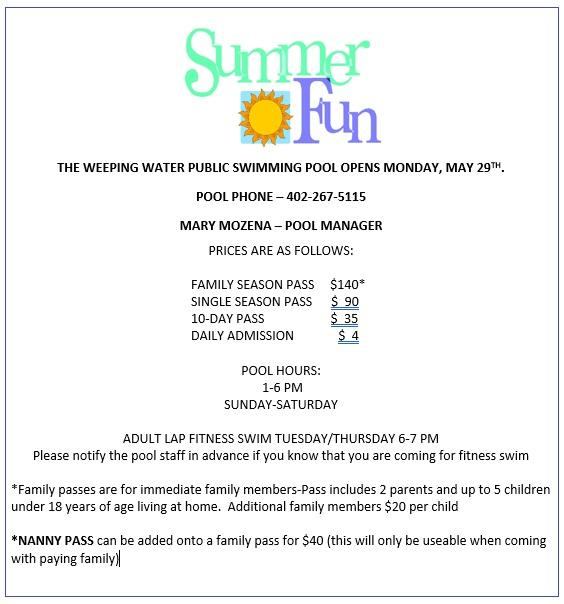 Weeping Water Newsletter August 30 2017